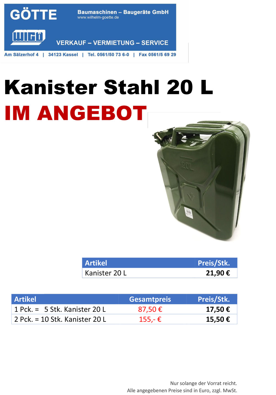 Benzinkanister 20L Stahl