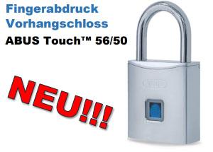 ABUS Vorhangschloss Touch 56/50 öffnen per Fingerabdruck - Schlüsselloses Schloss mit bis zu 10 Benutzern