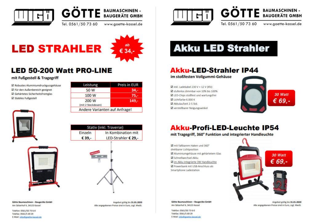 LED Strahler 50-200 Watt und Akku LED Leuchten