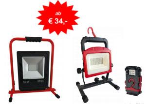 LED Strahler Akku ab 34€ Netto