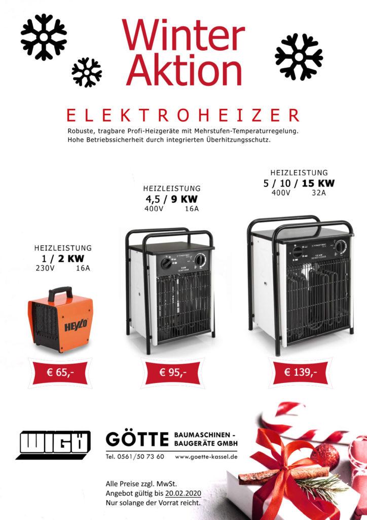 TROTEC Elektroheizer 2-9-15 kW - Jetzt Winter Aktion nutzen und bei Götte Baumaschinen in Kassel eindecken.