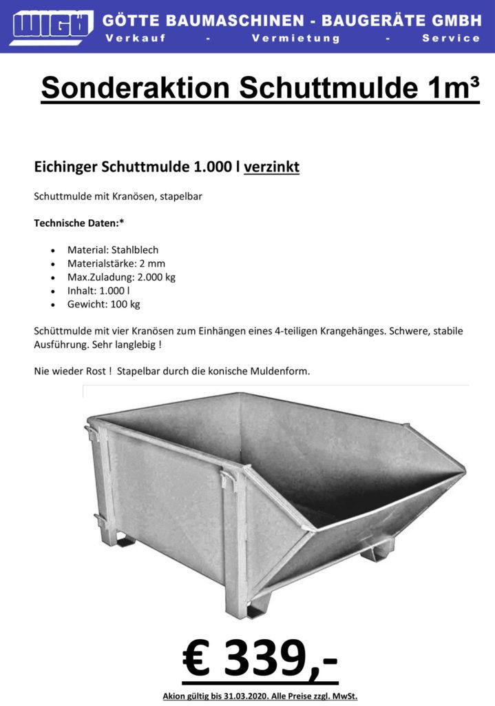 Schuttmulde 1m³ - Baugeräte Händler Götte in Kassel