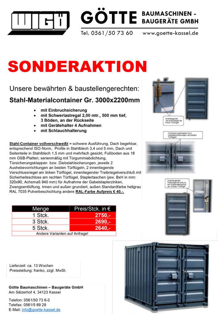 Stahl-Material-Container zum Sonderpreis! Mengenrabatt sichern. Ihr Partner für Container Verkauf + Verleih - Götte Baumaschinen Kassel