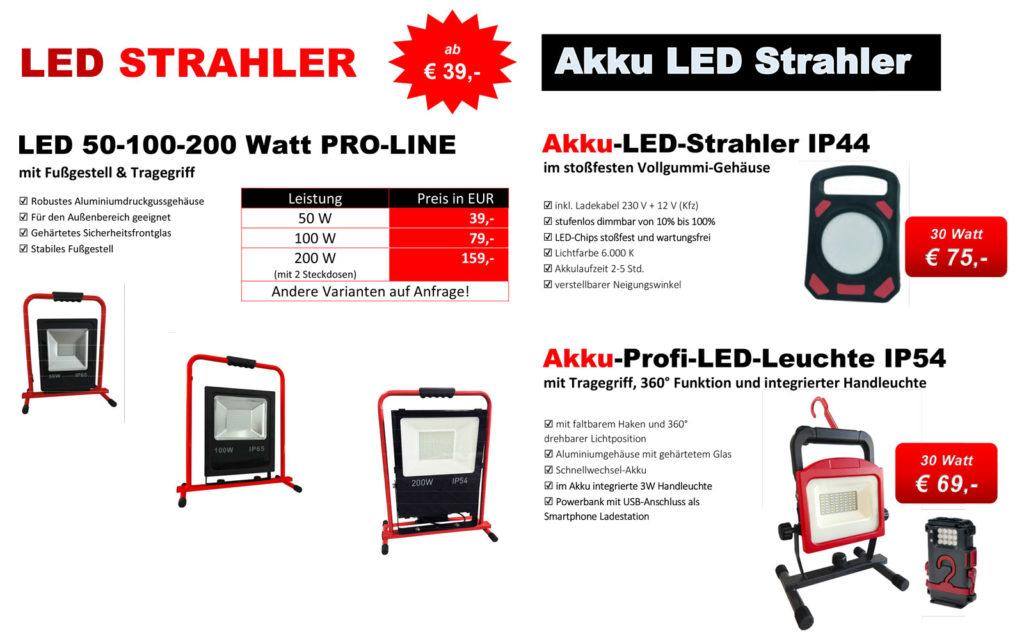 Aktion Baustrahler 2020 - Arbeitsscheinwerfer - Bauscheinwerfer - LED Fluter 50-200 Watt