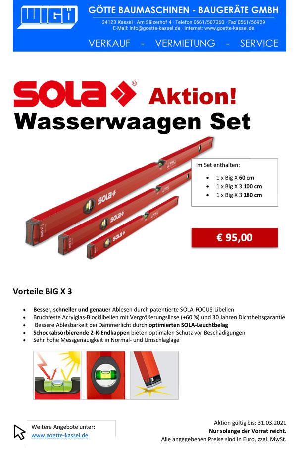 SOLA Wasserwaagen Aktion 2021Big X 3 180+100+60 cm