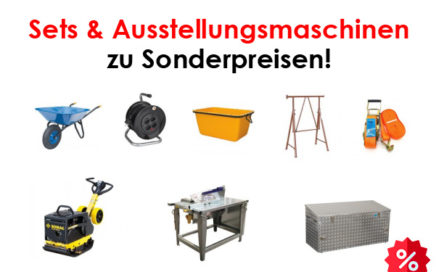 Sets & Ausstellungsmaschinen, Schiebkarre, Mörtelmulde, Rüttelplatte, Gerüstböcke